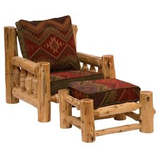<strong>Fireside Lodge</strong> Traditional Cedar Log Chair and Ottoman