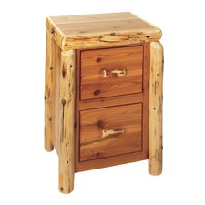 <strong>Fireside Lodge</strong> Traditional Cedar Log File Cabinet with Two Drawer