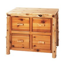 Traditional Cedar Log 4-Drawer File Cabinet