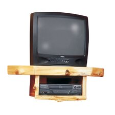 "Traditional Cedar Log Shelf Fixed Corner Mount for up to 21"" CRT TV"