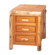 Traditional Cedar Log 3 Drawer Nightstand