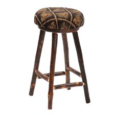 Hickory Round Stool with Upholstered Seat