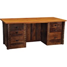 <strong>Fireside Lodge</strong> Reclaimed Barnwood Executive Desk with 6 Drawer