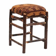 Hickory Square Backless Stool with Upholstered Seat