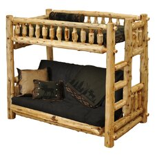 Traditional Cedar Log Single over Futon Bunk Bed with Built-In Ladder