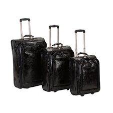 Crocodile Style 3 Piece Luggage Set