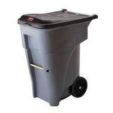 Brute Big Wheel Container, Square, Plastic, 50gal, Gray