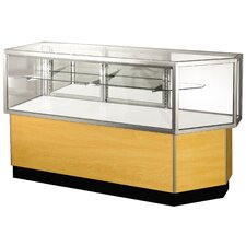 "<strong>Sturdy Store Displays</strong> Streamline 38"" x 80"" Half Vision Corner Combination Showcase with Mirror Back"