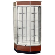 "<strong>Sturdy Store Displays</strong> Streamline 34"" x 18"" Front Opening Inside Corner Trophy Case with Glass Back"