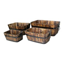 Rectangular Cedar Barrel (Set of 4 )