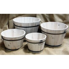 <strong>Shine Company Inc.</strong> Wood Round Shallow Cedar Barrel Planters (Set of 4)