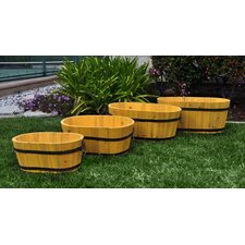 Oval Cedar Barrel Planters (Set of 4)