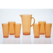 7 Piece Acrylic Hammered Glass Drinkware Set