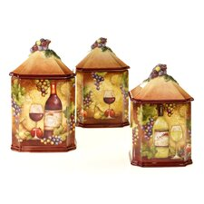 Wine Map 3 Piece Canister Set