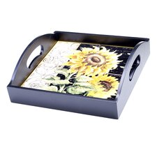 French Sunflowers 4-Tile Wood Square Serving Tray with Handles