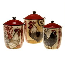 Fancy Rooster 3 Piece Canister Set