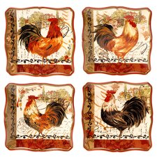 "Tuscan Rooster 8.5"" Dessert Plate (Set of 4)"