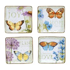 "Herb Garden 6"" Square Canape Plates (Set of 4)"