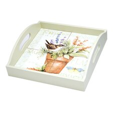 Herb Garden 4-Tile Wood Square Serving Tray with Handles