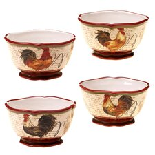 Tuscan Rooster Ice Cream Bowl (Set of 4)