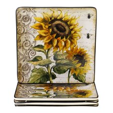 "French Sunflowers 10.5"" Square Dinner Plate (Set of 4)"