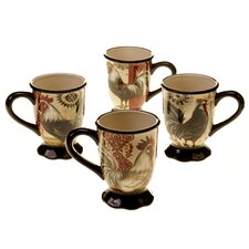 Fancy Rooster 16 oz. Mug Set (Set of 4)