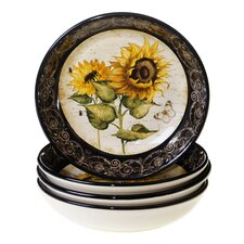 "French Sunflowers 9.25"" Soup / Pasta Bowl (Set of 4)"