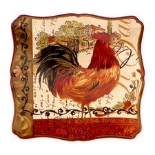 "Tuscan Rooster 14.5"" Square Platter"