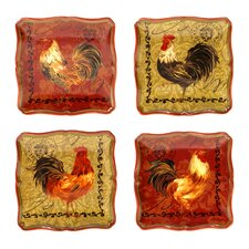 "Tuscan Rooster 5.75"" Canape PlateSet of 4)"