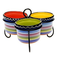 Tequila Sunrise Serving Bowl with Metal Stand (Set of 3)