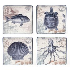 "Coastal Postcards 10.5"" Dinner Plates (Set of 4)"
