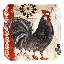 "Fancy Rooster 14.5"" Square Platter"