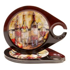 "Estate Wine 11"" Appetizer Plates with Wine Glass Cut Out (Set of 6)"