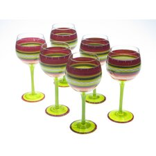 <strong>Certified International</strong> Hot Tamale Hand Painted Wine Glass (Set of 6)