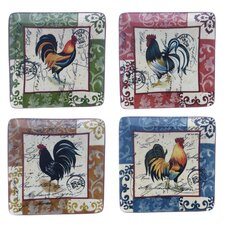 "Lille Rooster by Geoffrey Allen 8.25"" Salad Plate (Set of 4)"