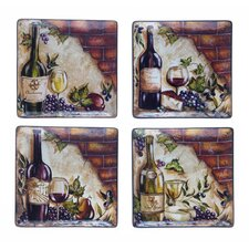 "Wine Cellar by Tre Studios 11"" Square Dinner Plate (Set of 4)"