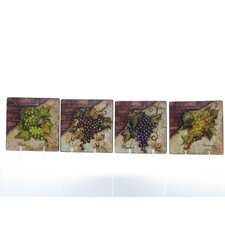 "Wine Cellar by Tre Studios 6"" Canape Plate (Set of 4)"