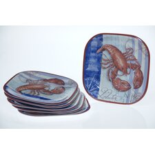 "Blue Crab and Lobster by Geoff Allen 10.5"" Plate (Set of 6)"