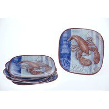 "Blue Crab and Lobster by Geoff Allen 8.5"" Plate (Set of 6)"