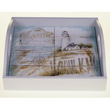 "Beach Cottage 12.75"" 4-Tile Square Tray"