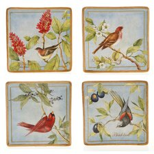"Botanical Birds 8.25"" Dessert Plate (Set of 4)"