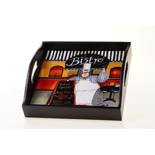 "Trattoria 12.75"" 4-Tile Wood Square Tray with Handles"