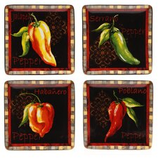 "Chili Pepper 8.25"" Dessert Plate (Set of 4)"