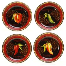 "Chili Pepper 9.25"" Soup/Pasta Bowl (Set of 4)"