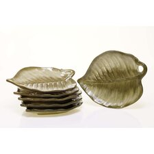 "<strong>Certified International</strong> Las Palmas 9.5"" x 7.5"" 3-D Palm Leaf Dessert Plate"