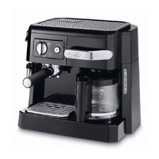 Front Loading 15-Bar Combi Coffee Machine in Black and Silver