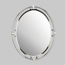 Oval Beveled Mirror in Chrome with Porcelain Trim