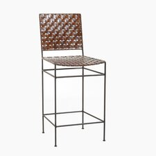 "Saddler 26"" Iron and Woven Leather Counter Stool"