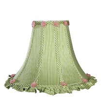 Green Checks Ruffled Edge Shade in Ivory
