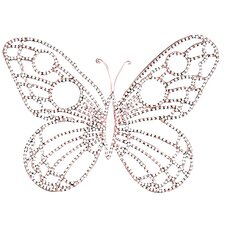 Medium Wire Beaded Butterfly in Pink/White